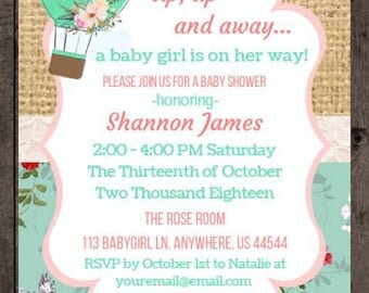 Baby Shower Invitation, Hot Air Ballon Baby Shower, Up Up and Away, Girl Baby Shower