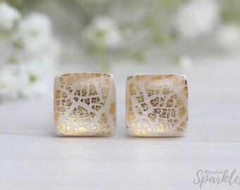 Champagne Gold Stud Earrings, Minimalist Square Earrings, Simple Earrings Ivory, Beige Earrings, Bridesmaids earrings, Elegant wedding studs