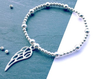 Angel Wing Bracelet, 925 Sterling Silver Bead Bracelet, Friendship Bracelet, Sterling Silver Stacking Bracelet, FREE DELIVERY
