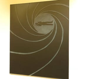 James Bond Etched Glass Art