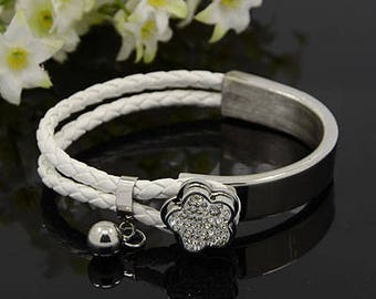 Stainless steel bracelet with leather * Glitter flower White