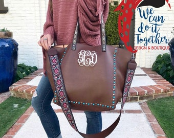 Preorder for Tan,Gray,Black,Blue,Brown Guitar Strap Monogram Handbag Personalized, Vegan Leather Tote,Monogrammed Shoulder Bag Gift,Purse