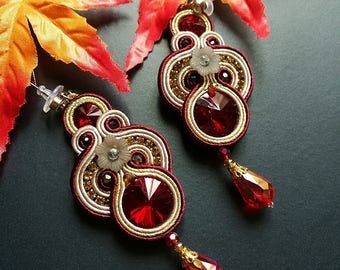 Elegant Red Ruby Crystal Soutache Earrings Statement Wedding Earrings Dangle Ethnic Boho Chic Red and Gold Earrings
