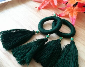 Handcraft Dark Green Embroidered Tribal Ethnic Earrings Statement Dangle Drop Boho Chic Beaded Tassel Earrings Gift For Her