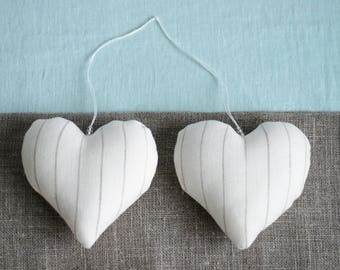 Fabric hearts, heart decorations, wedding decor, linen heart, home decor, rustic heart ornaments, linen heart, Wedding heart, Valentine gift