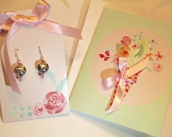 Heart Shaped Earrings with Matching Gift Card