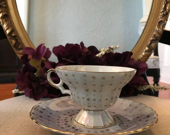 Porcelain Teacup and Saucer, Tea Party, Bridal, Wedding Gift, Shabby Chic