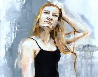 FINE ART PRINT 'Becky, 2018'   oil painting   oil portrait   woman painting   beautiful woman