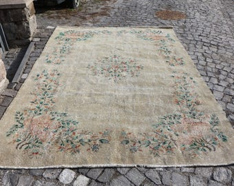 Free Shipping Handmade Turkey Rug 7.1 x 10 ft. Muted Color Oushak Rug Rugs Boho Rug Vintagearerug Decorative Rug Aztec Rug Floor Rug MB166