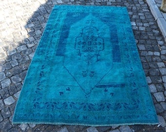 Blue Color Rug Overdyed Rug Free Shipping 4.3 x 7.4 ft. Handknotted Good Condition Rug Anatolian Rug Overdyed Floor Rug Decorative Rug MB300