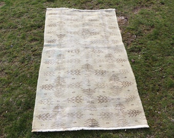 beige color rug, 3.1 x 5.5 ft. Free Shipping turkish rug, bohemian rug, oushak rug, faded color rug, handknotted low pile rug, MB535