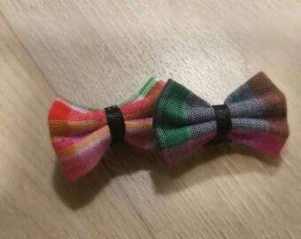 2 mini pink and green madras bow ties has darts