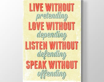 Live-Love-Listen,Canvas Printing On Canvas-Life Advice Painting, Wall Art, Canvas Prints, Room Deco, Big Words