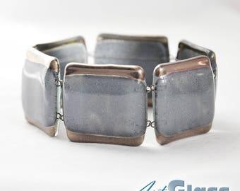Bracelet handmade painted grey with platinum