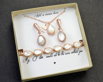 Personalized necklace Bridesmaid Earrings Bridesmaid Jewelry Gold Bridesmaid Gift Set 4 5 6 Bridal Jewelry Set Bridal Earrings Gold pearl