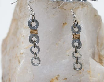 Single Link Bike Chain Earrings (2 rollers under)