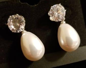 Pearl Teardrop with CZ stone