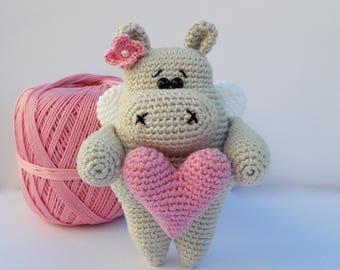 READY FOR SEND crochet hippopotamus, amigurumi hippo, toy hippo, batterfly, heart toy