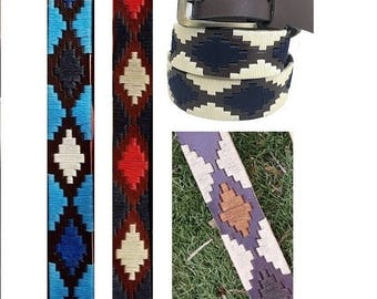 Customizable Embroidered leather Polo belt
