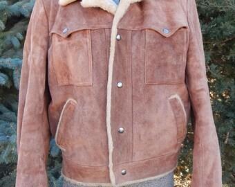 Vintage 1970's Suede Plush Mens Campus Jacket