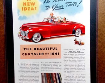 Chrysler Red 1941 vintage advertisement matted and framed, 14inx11.5in. Hanger makes for instant hanging and display