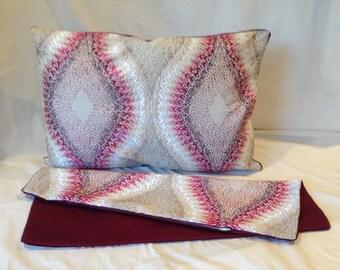 "Rectangular Magenta Embroidered Cotton Pillow - 24""L x 16.5"" W"