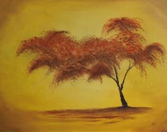 Golden Tree, Original Oil Painting on Canvas