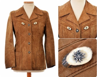 suede leather Trachten / women's Folk JACKET / womens size Small-Medium S-M / brown colour / with real antler buttons and metal Edelweiss