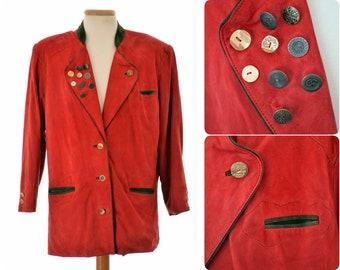Suede Trachten/Hunting JACKET blazer by URSULA AUST / Andrea Anders / womens size Eur 40 - Medium / Austrian, Bavarian folk clothing / red
