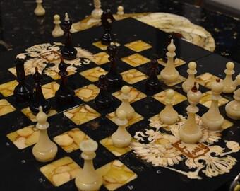 Chess. Stained oak, #amber # ambergift