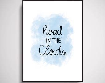 Head In The Clouds Wall Art Print