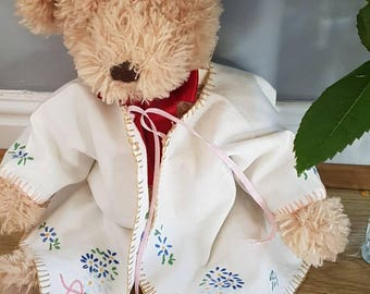 Vintage baby jacket handmade hand-embroidered brushed cotton flannel