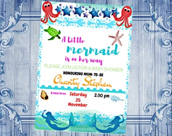 Mermaid Baby Shower Invitation|Mermaid Baby Shower Invites|Pastel Mermaid Invitations|Girl Baby Shower Invitation|