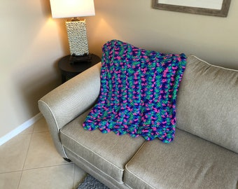 Purple, Fuscia & Green Shell Pattern Afghan