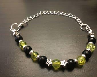 Lime green and black bead bracelet