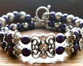 Handmade Beaded Bracelet with Toggle Clasp