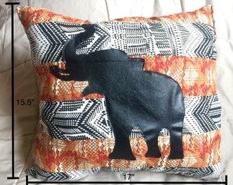 Handmade Striped Elephant Silhouette Pillow