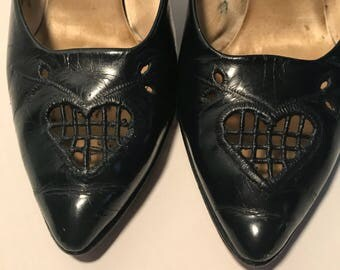 Vintage Bombshell 1940's Navy Sweetheart Pumps 6.5