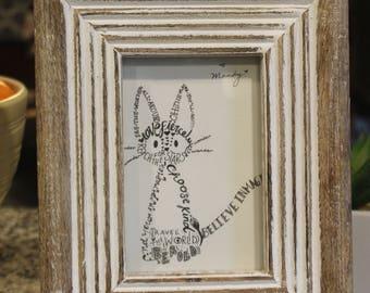 Jiji look alike personalized cat, framed word art, inspirational word art