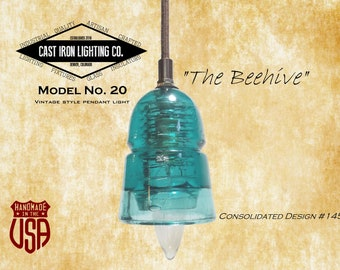 Glass Insulator Pendant Light ~ Teal ~ CD 145 Beehive Insulator ~ Cloth Cord ~ Vintage ~ LED Light Bulb Included