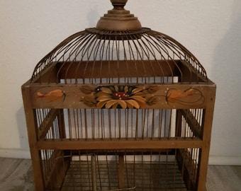 Vintage wood Bird cage wooden bird cage