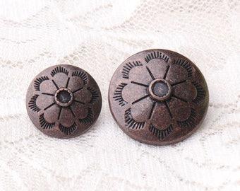 metal buttons flower buttons 10pcs 2 sizes 20*11/15*9mm fashion copper round zinc alloy buttons