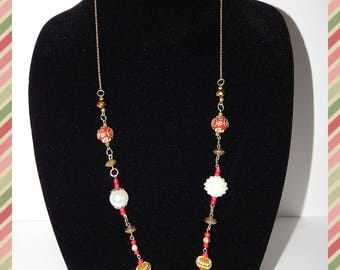 "Lady in Red; Red Necklace 30"" long"