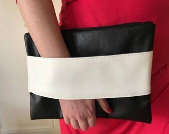 Black Faux Leather White Hand Wrist Strap Clutch Bag