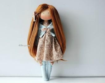Textile doll. Doll. Tilda. Tilda doll. Interior doll. Decor doll. Red doll. Handmade doll. Art doll by Olesya Nestratova
