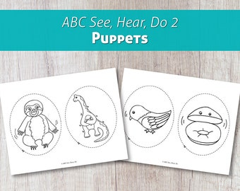 ABC See, Hear, Do 2 Printable Animal Puppets