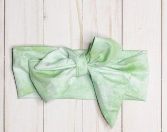 Watercolor Green: headwrap, baby headwrap, toddler headwrap, green baby headband, watercolor, cotton, bow, toddler headband