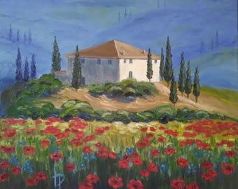 """Tuscan farmhouse 20x24""""  Oil on canvas"""