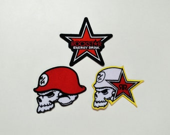 Rock Star Energy Drink Logo Applique Iron on Patch Sew On Jacket Or Cap