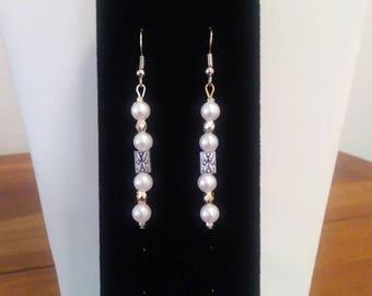 Pearl & Silver Dangle Earrings